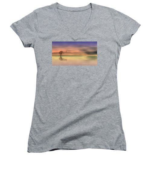 Women's V-Neck featuring the painting Fall Reflections by Harry Warrick