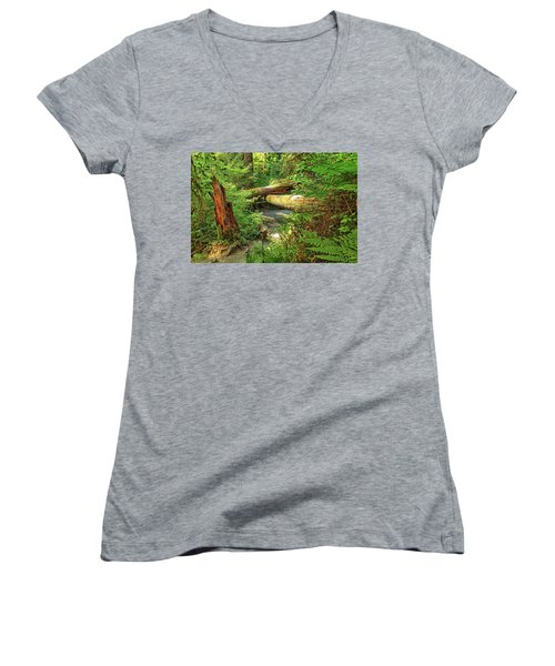 Fallen Trees In The Hoh Rain Forest Women's V-Neck