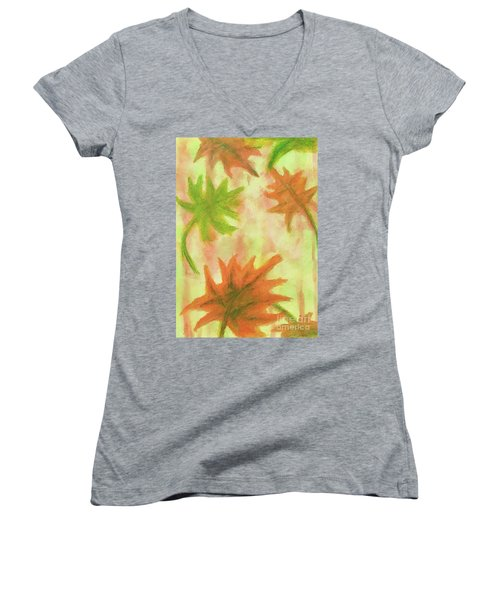 Fanciful Fall Leaves Women's V-Neck