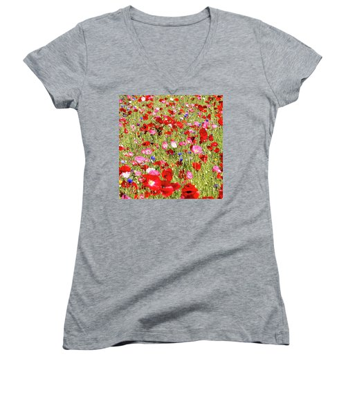 Field Of Red Poppies Women's V-Neck