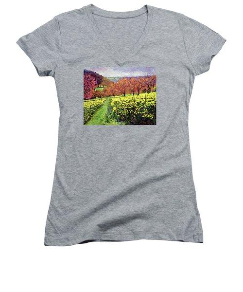 Fields Of Golden Daffodils Women's V-Neck