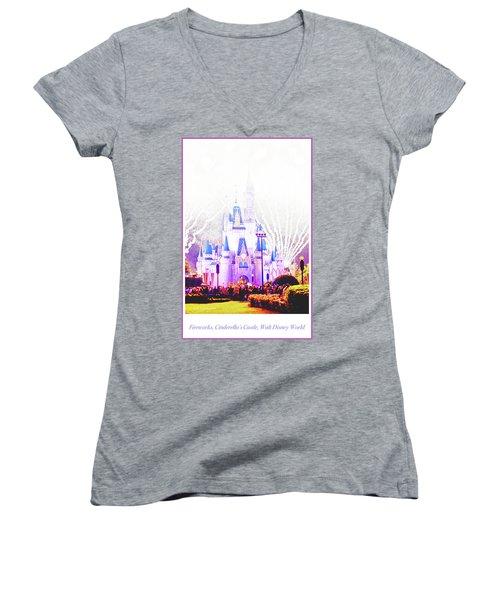 Fireworks, Cinderella's Castle, Magic Kingdom, Walt Disney World Women's V-Neck