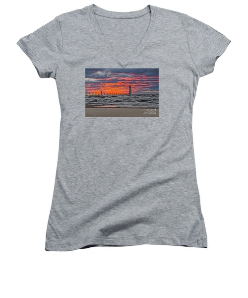 First Day Of Fall Sunset Women's V-Neck
