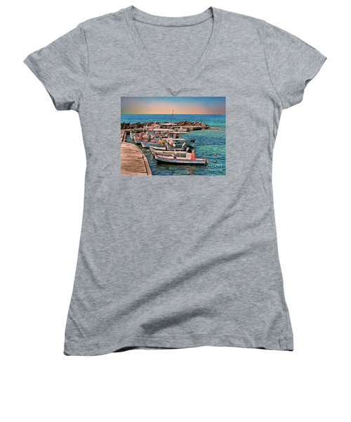 Women's V-Neck featuring the photograph Fishing Boats Corfu by Leigh Kemp