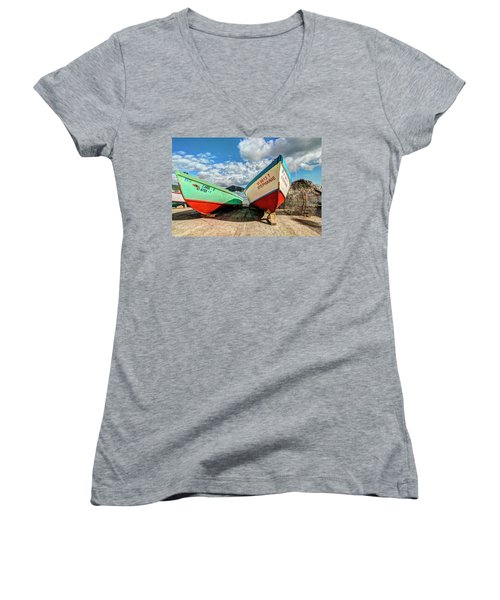 Fishing Boats In Frenchtown Women's V-Neck