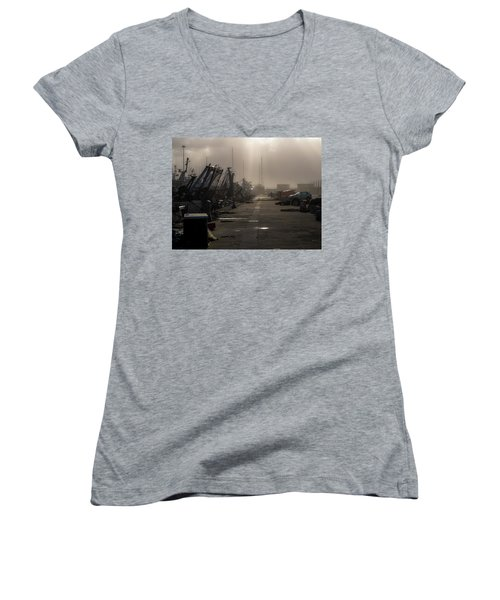 Fishing Boats Moored In The Harbor Women's V-Neck
