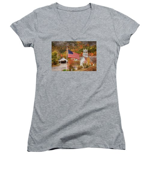 Flag Flying Over The Stark Covered Bridge Women's V-Neck
