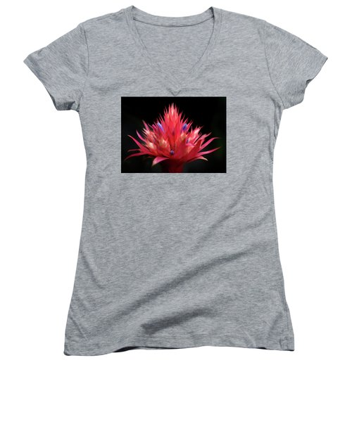 Flaming Flower Women's V-Neck (Athletic Fit)