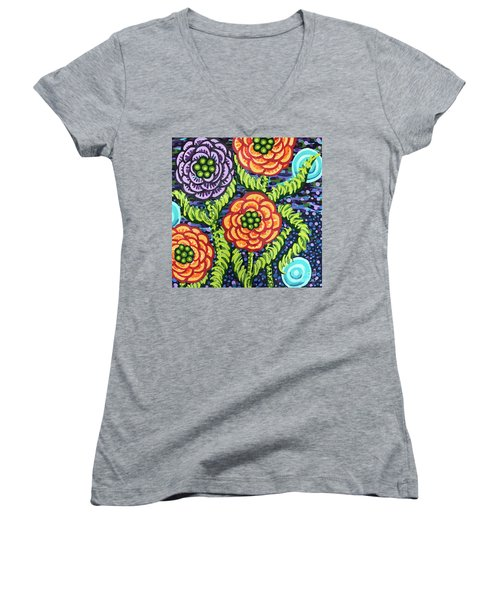 Floral Whimsy 5 Women's V-Neck