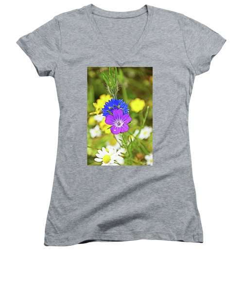 Flowers In The Meadow. Women's V-Neck