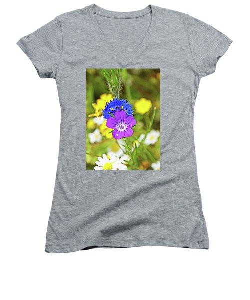 Flowers In The Meadow. Women's V-Neck