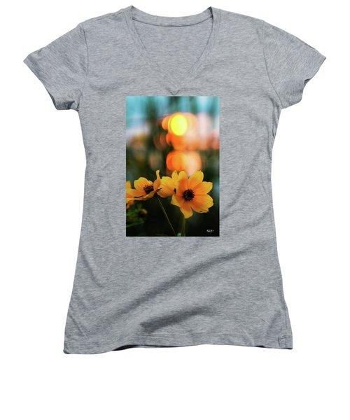 Flowery Bokeh Sunset Women's V-Neck