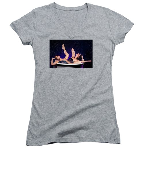 Achelois And Sister Bathing In The Galaxy Women's V-Neck