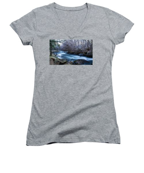 Frozen River Surrounded With Trees Women's V-Neck