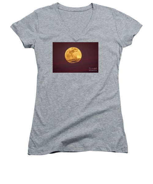 Full Moon Above Clouds Women's V-Neck
