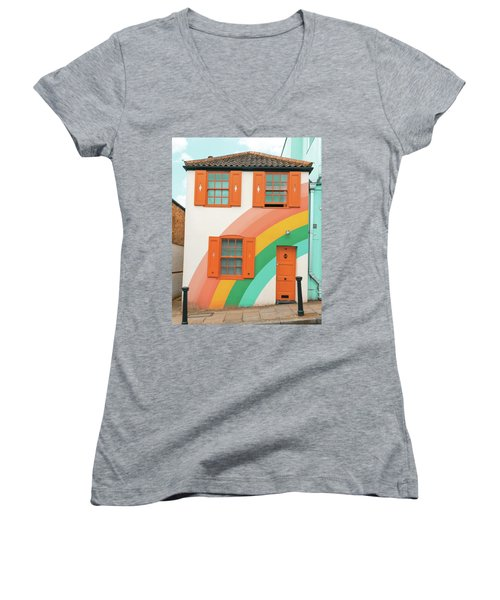 Funky Rainbow House Women's V-Neck