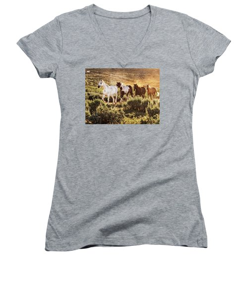 Galloping Down The Mountain Women's V-Neck
