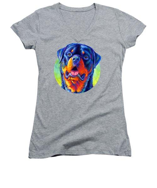 Gentle Guardian Colorful Rottweiler Dog Women's V-Neck