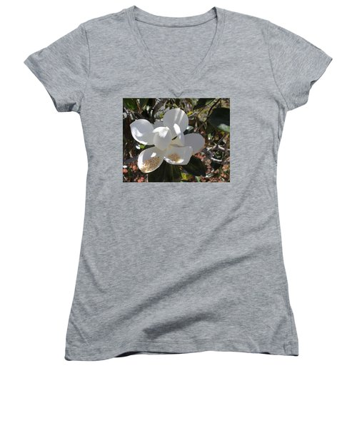 Gigantic White Magnolia Blossoms Blowing In The Wind Women's V-Neck
