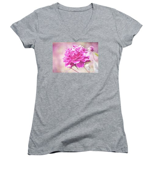 Glorious Pink Peony Women's V-Neck