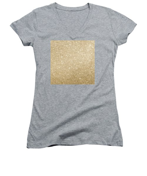 Gold Glitter Women's V-Neck