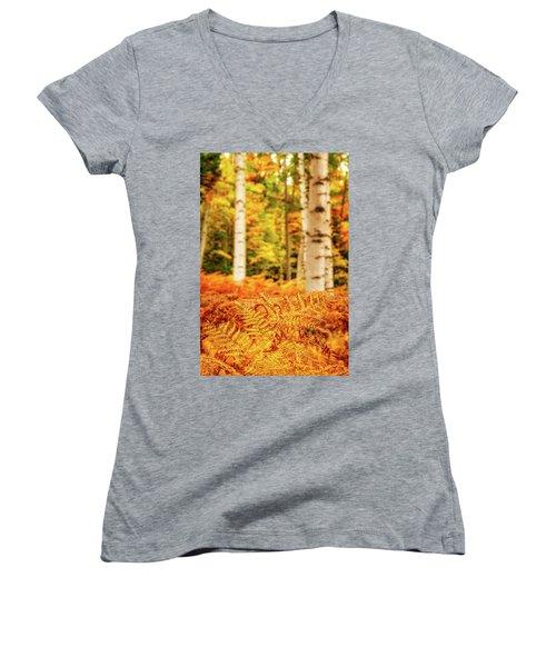 Golden Ferns In The Birch Glade Women's V-Neck
