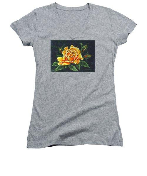 Golden Rose Sketch Women's V-Neck