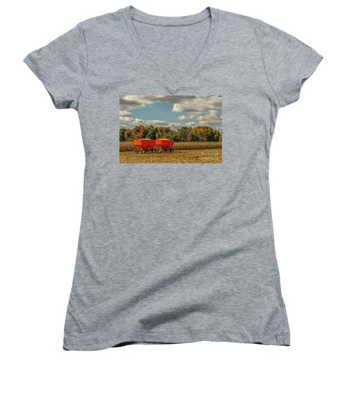 Grain Wagons Loaded With Maize Women's V-Neck