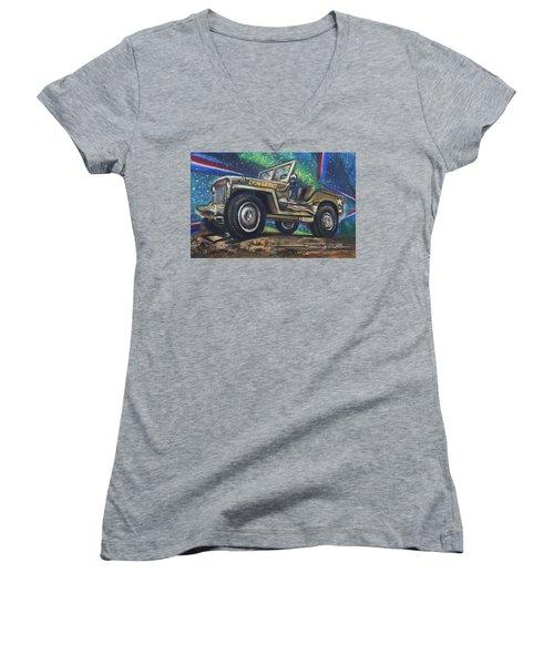 Grandpa Willie's Willys Jeep Women's V-Neck