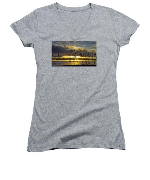 Grassy Shoreline Sunrise Women's V-Neck