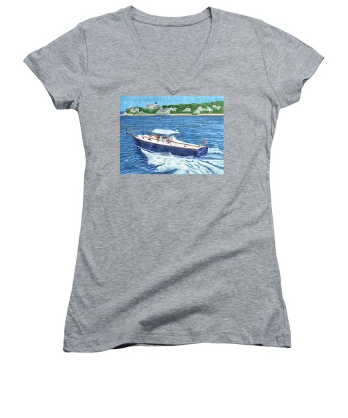 Women's V-Neck featuring the painting Great Ackpectations Nantucket by Dominic White