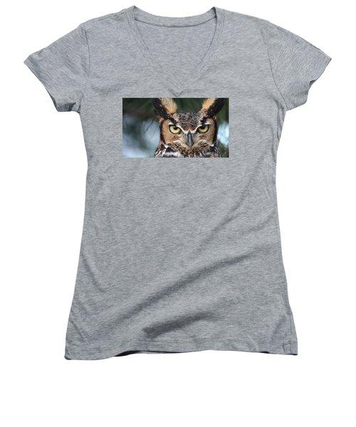 Great Horned Owl Eyes 51518 Women's V-Neck