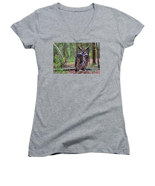 Great Horned Owl Standing On A Tree Log Women's V-Neck