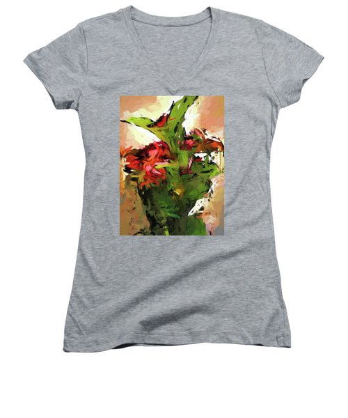 Green Leaves And The Red Flower Women's V-Neck (Athletic Fit)