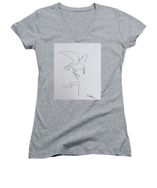 Gull On Pier Women's V-Neck