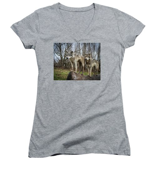 Hangin On The Log Women's V-Neck