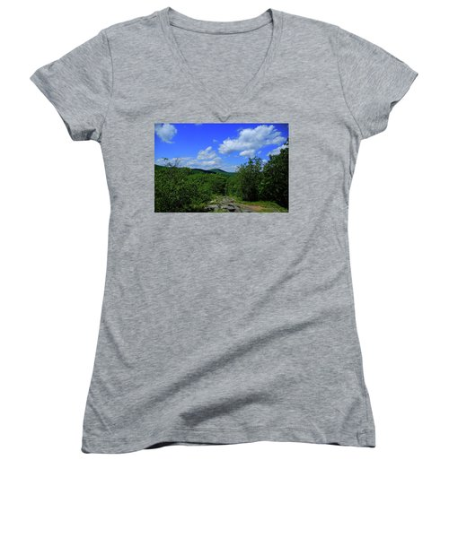 Women's V-Neck (Athletic Fit) featuring the photograph Heading Bear Mountain Connecticut On The Appalachian Trail by Raymond Salani III