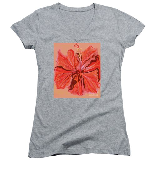 Hibiscus Color Lines Women's V-Neck
