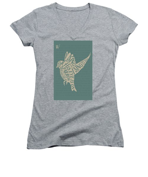 His Eye Is On The Sparrow Women's V-Neck