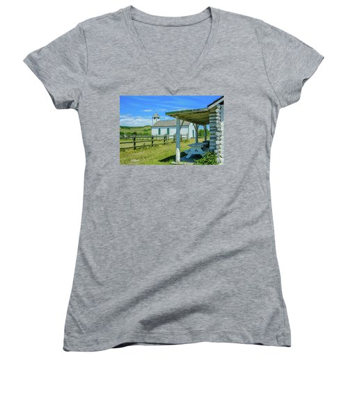 Historic Mcdougall Church, Morley, Alberta, Canada Women's V-Neck