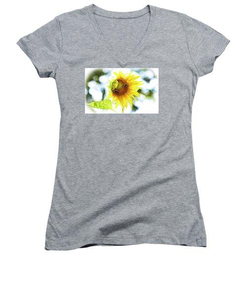 Honey Bees On Sunflower Women's V-Neck