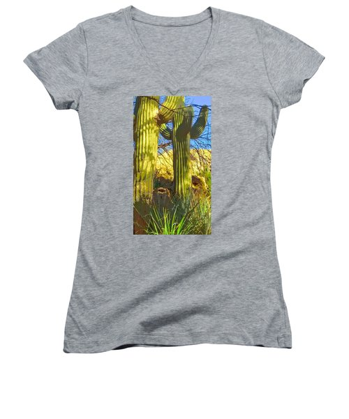 In The Shadow Of Saguaros Women's V-Neck