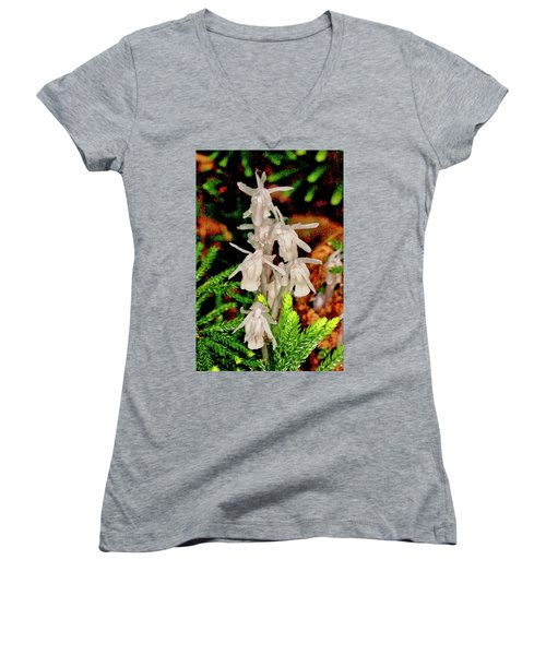 Indian Pipes On Club Moss Women's V-Neck