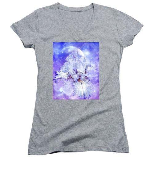 Women's V-Neck featuring the mixed media Iris - Goddess Of Dreams by Carol Cavalaris