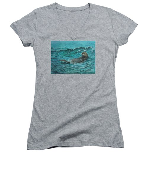It's My Otter Day Off.....sea Otter Women's V-Neck