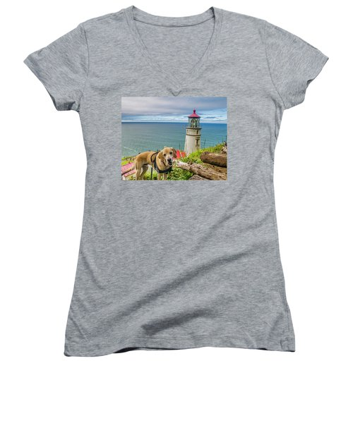 Jackson At Heceta Head Lighthouse Women's V-Neck