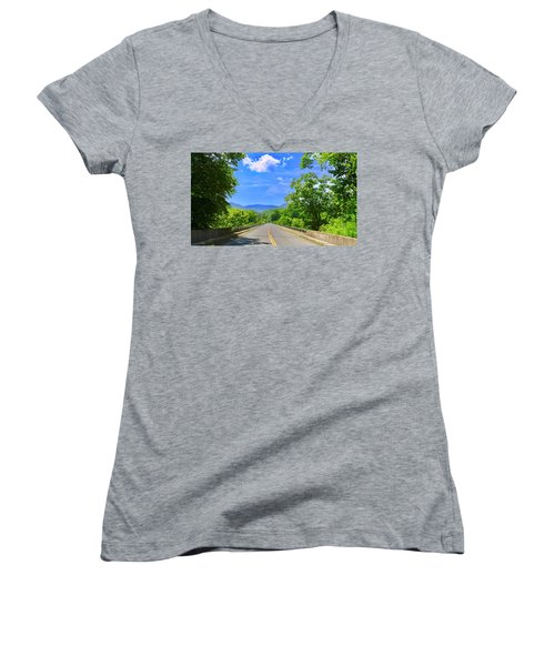 James River Bridge, Blue Ridge Parkway, Va. Women's V-Neck