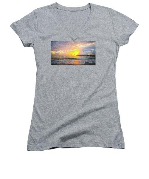 Juno Beach Pier Sunrise 2 Women's V-Neck