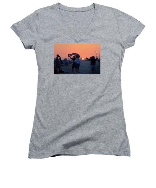 Women's V-Neck featuring the photograph Just Another California Sunset by Ron Cline