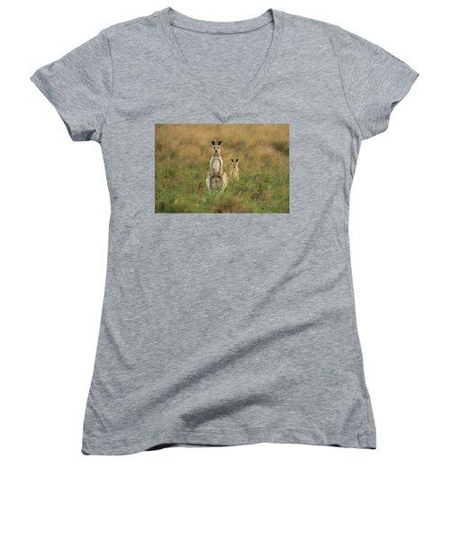Kangaroos In The Countryside Women's V-Neck